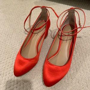 Anthropologie Red Mini Heels